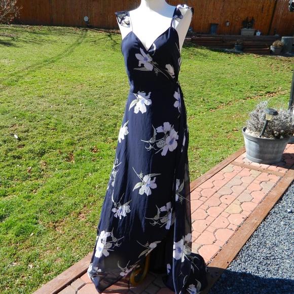 c7aef72fc7 Lulus All Mine Navy Floral Hi Low Maxi Wrap Dress